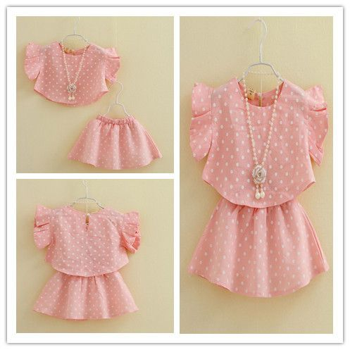 Hu sunshine wholesale New 2014 summer girls Clothing set fashion pink polka dot fly sleeve blouses+ bust skirt twinset $44.33
