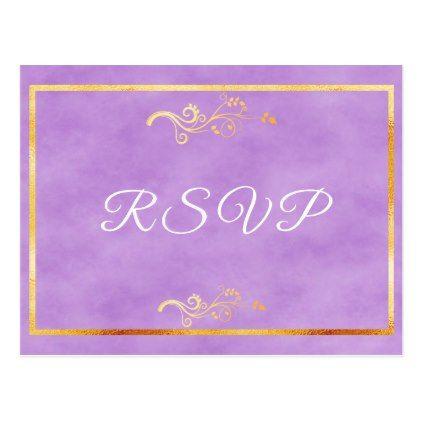 RSVP wedding postcard ultra violet faux gold decor - postcard post card postcards unique diy cyo customize personalize