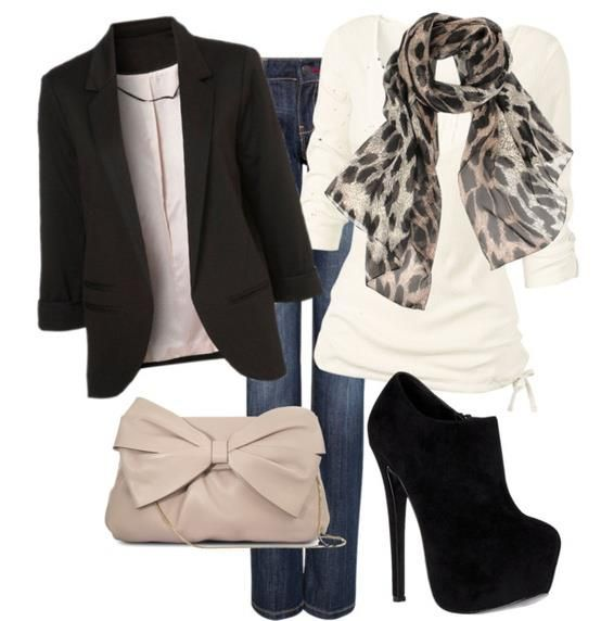 Black booties, cream top with print scarf and black blazer. (Sub out