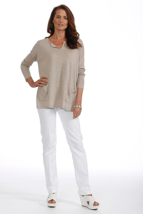 Relax with Linen blend oversized sweater & crisp white cotton pants