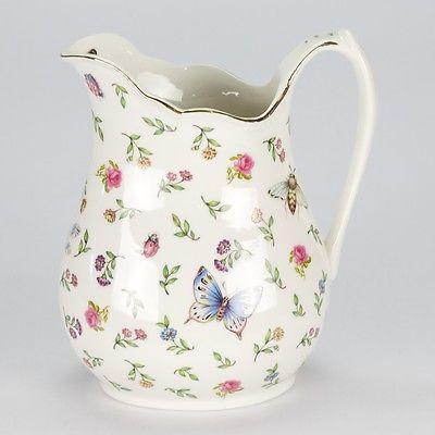 New Vintage Style Porcelain Water Jug Pitcher Flower