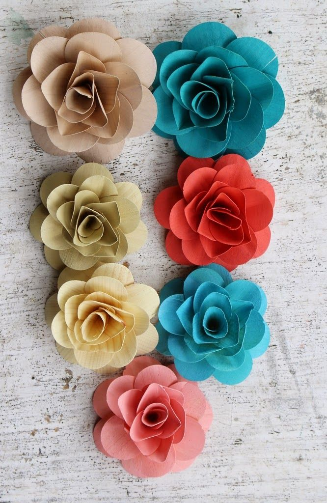 Turquoise and Coral Wedding: Wooden Flowers Painted with Coral, Turquoise, Cream and Champagne | Reduce. Reuse. Recycle. Replenish. Restore.