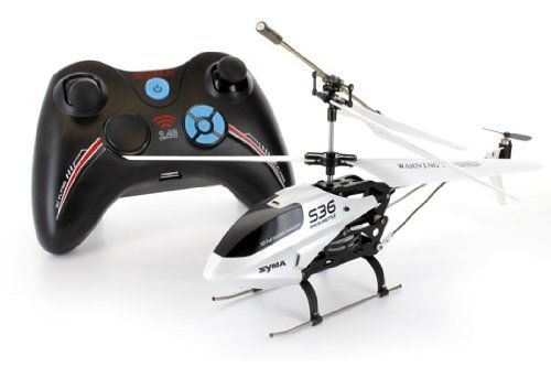 Syma S36 3CH 2.4GHz R/C Helicopter w/ Gyro 2.4GHz Radio for more precise controls, longer distance connection, & less interference Full 3 channels: up, down, left, right, forward, and backward Small size making it ideal for flying indoors