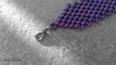 Fioletowa bransoletka, metalowe zapięcie. #Lavender #Superduo #bracelet #beaded #handmade #purple #jewelry #cuffbracelet