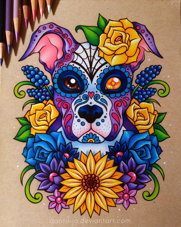 Sugar Skull Puppy - Commission by dannii-jo on DeviantArt