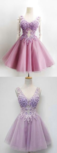 Charming V-neck Lilac Tulle with Flowers Appliqued Princess Homecoming Dresses,apd1771