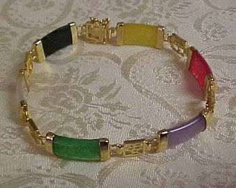 "Multi Colored Precious JADE Bracelet.  7 1/2"" long. FREE shipping in the United States."