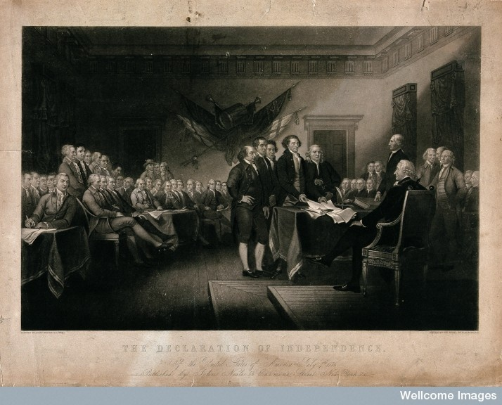 Declaration of Independence of the United States of America, Philadelphia, July 4th, 1776. The painting shows the signing of the Declaration of Independence in what was later called Independence Hall, Philadelphia, on July 4, 1776. Members of the committee that drafted the Declaration of Independence--John Adams, Roger Sherman, Thomas Jefferson (presenting the document), and Benjamin Franklin--stand before John Hancock, the President of the Continental Congress. Wellcome Library, London