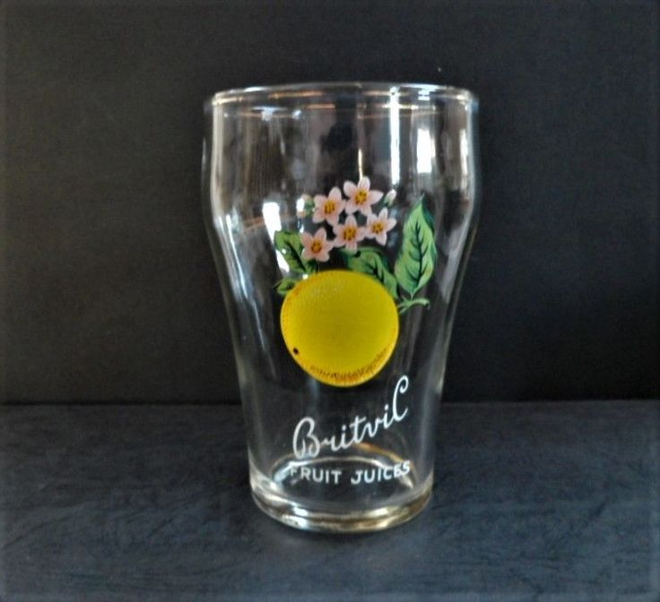 Britvic Fruit Juices Glass Vintage Grapefruit Transfer Logo Breweriana