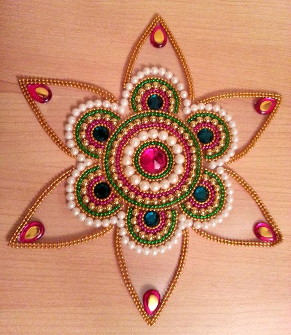 Starburst Indian Rangoli Traditional Kundan Sticking Kolam for Diwali -. Floats on water Ready to use