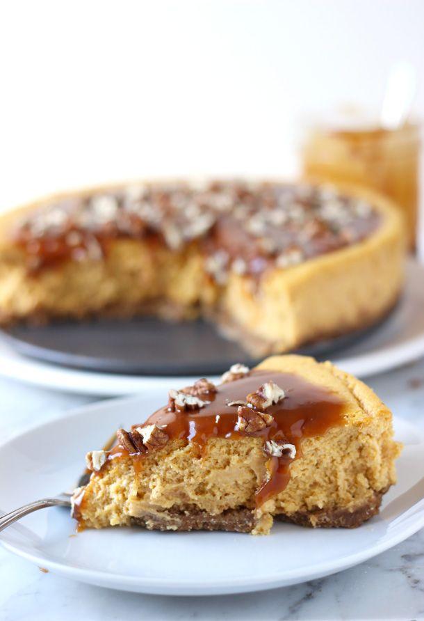 Pumpkin Pecan Cheesecake with Salted Caramel Sauce | Blahnik Baker