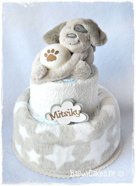 Gâteau de couches et son animal domestique personnalisé pour une petite Mitsiky
