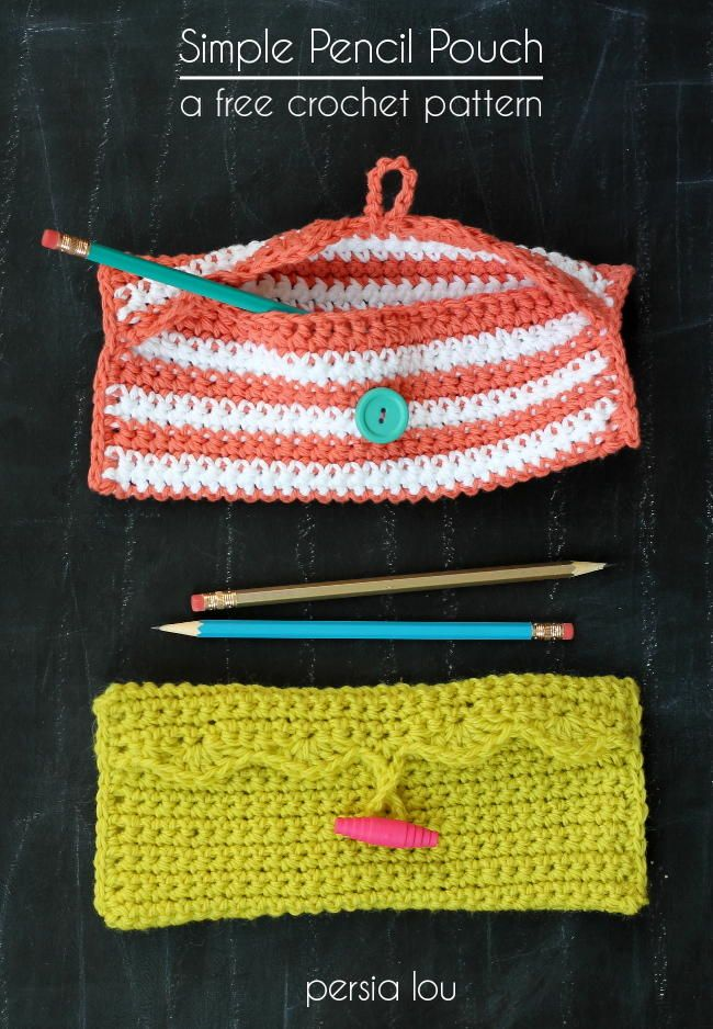 Scalloped Edge Pencil Pouch. Free beginner pattern could be used for many different things.