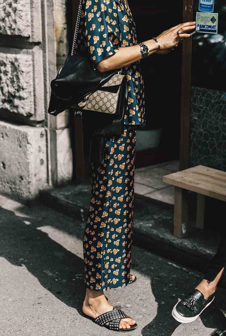 Pajama style dressing inspiration with slides and Gucci bag