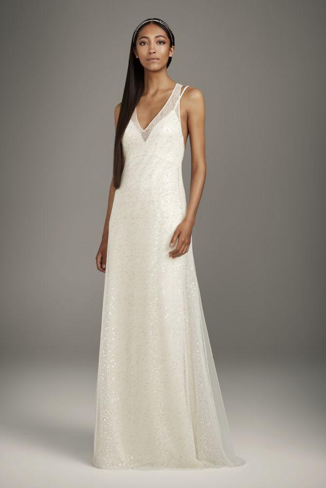 Satin Slip Dress With T Back Sequin Tulle Overlay David S Bridal Slip Wedding Dress Ball Gown Wedding Dress Wedding Dresses Vera Wang