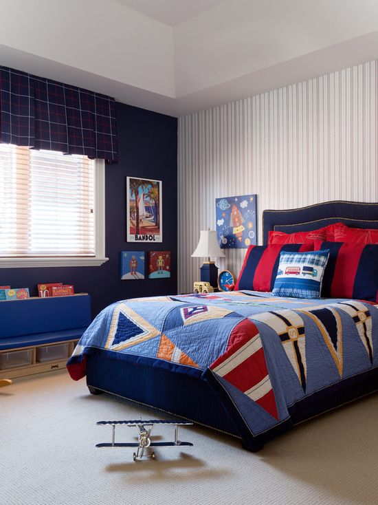 Interior Designs, Traditional Kids Room With Marvellous Blue Curtains For Boys…