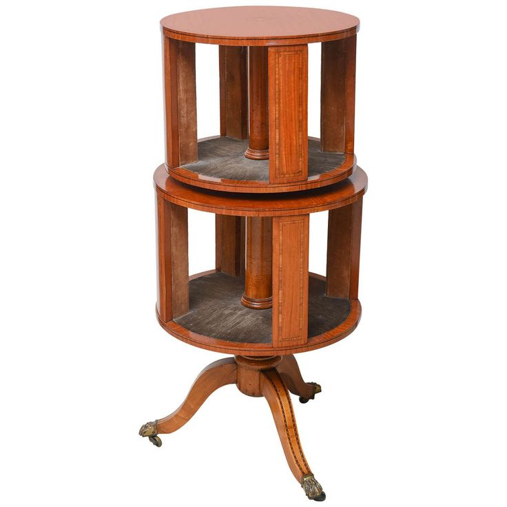 Adam Style Satinwood Revolving Bookcase | From a unique collection of antique and modern bookcases at https://www.1stdibs.com/furniture/storage-case-pieces/bookcases/