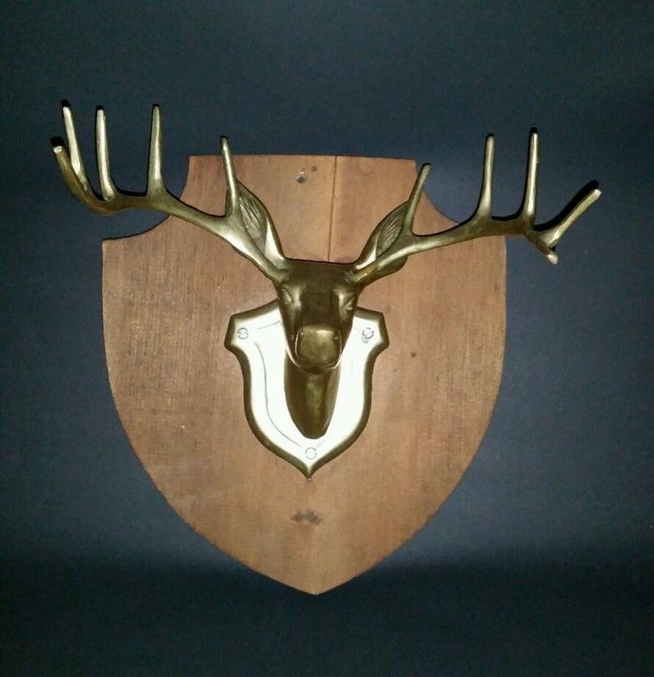 Brass Deer Head Taxidermy Mount 10 Point Antler Decor Hunting Trophy Plaque #Unbranded