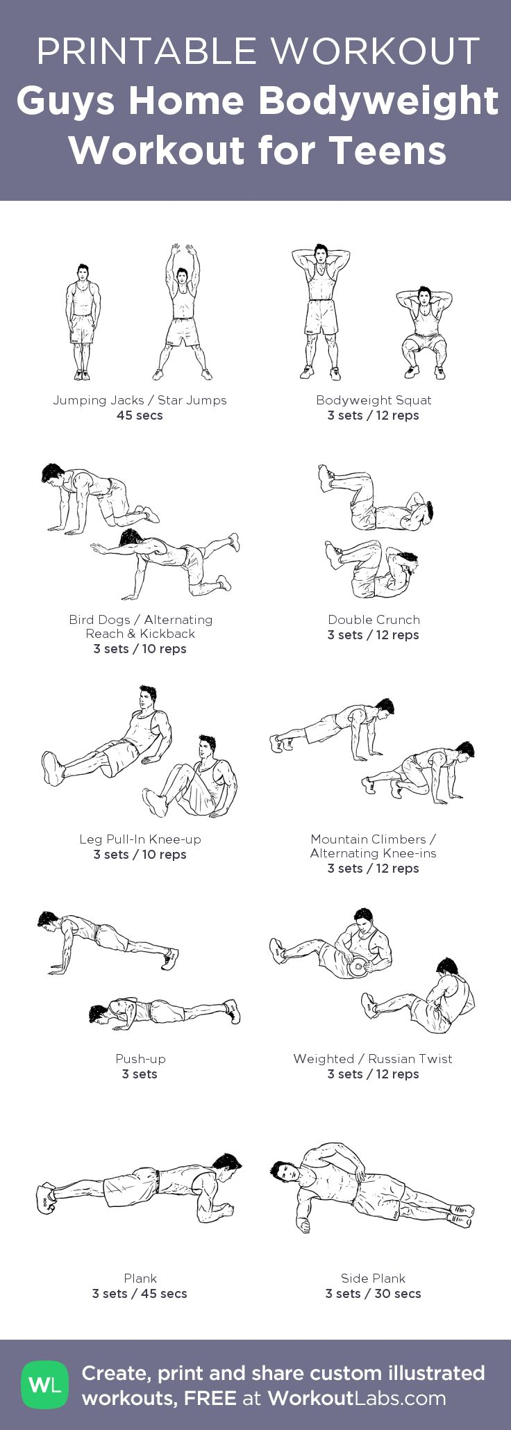 Guys Home Bodyweight Workout for Teens – Visit http://workoutlabs.com/custom-workout-builder/?tl1=Guys%20Home%20Bodyweight%20Workout%20for%20Teensa1=2239b1=0c1=45sa2=1293b2=3c2=12a3=3488b3=3c3=10a4=3589b4=3c4=12a5=3338b5=3c5=10a6=1970b6=3c6=12tl2=Name%20your%20workouta7=1111b7=3c7=0sa8=1308b8=3c8=12a9=1349b9=3c9=45sa10=1732b10=3c10=30stms=1403468593562 to download as printable PDF! #customworkout
