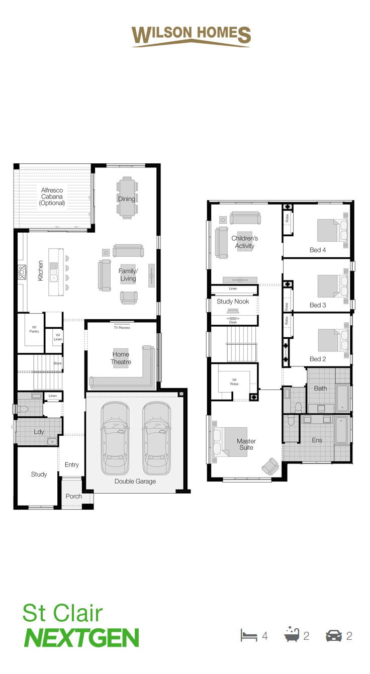 St Clair Floor Plan by Wilson Homes - NextGen Range - Showcases the best in contemporary architectural innovation and was cleverly designed to offer two levels filled with inspired living spaces to suit today's narrow lots. #narrowfloorplan #wilsonhomes