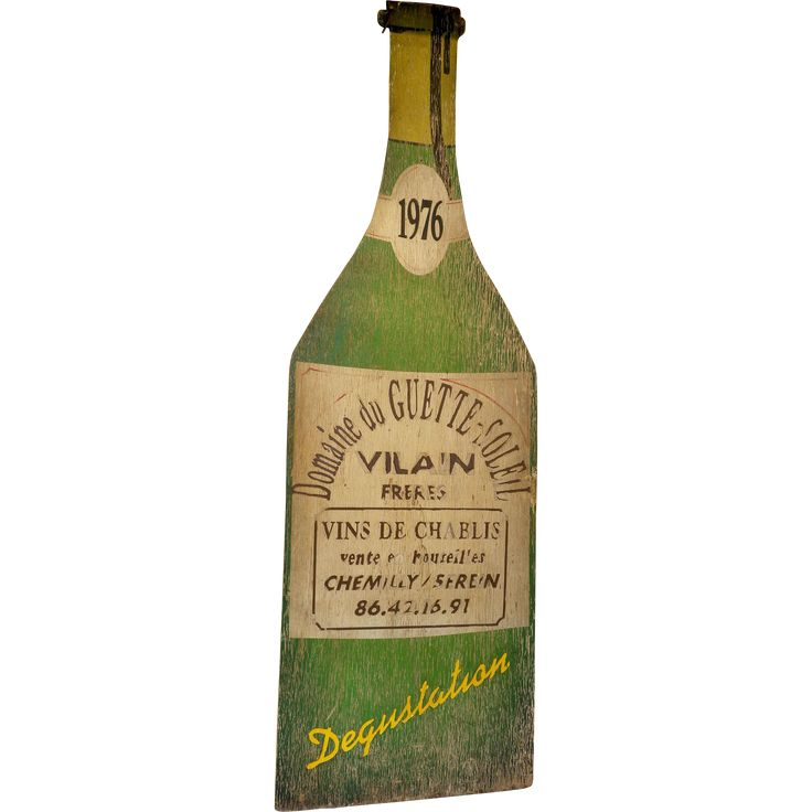 Giant Painted Wood Advertising Bottle for Chablis Wine from relic on Ruby Lane