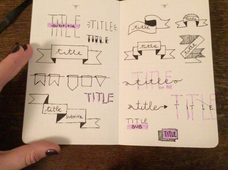 Here are several ways to write a title in a bujo. Cute