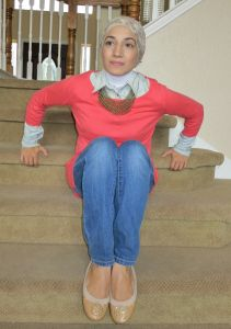 Hijab Fashion button down and sweater