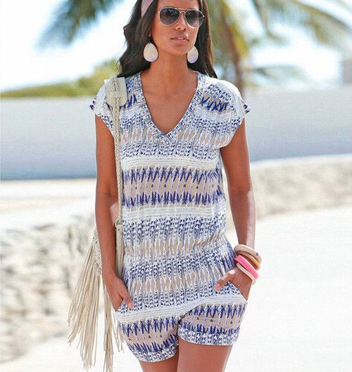 Summer Women Beach Jumpsuit Fashion Gradient Sexy V-neck Short Sleeve Printed Rompers Playsuits