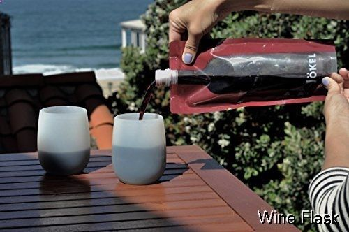 Wine Flask - Prime Deal Foldable Wine Flask Holds an Entire Bottle - 2 Pack Reusable Travel 750ml Wine Bottles with FREE Collapsible Funnel & Bartender's Corkscrew Bottle Opener from J�kel