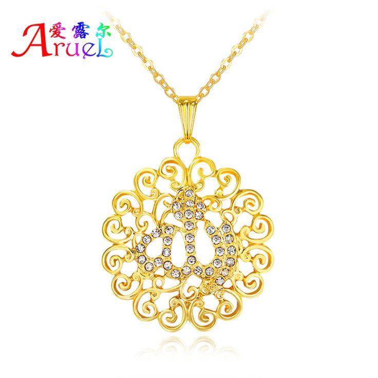 Arabisch gouden sieraden allah ketting islamitische religieuze moslim mannen vrouwen keten arabische kolye hanger bijoux crystal kettingen
