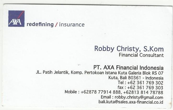 Robby Christy, S.Kom - Financial Consultant AXA