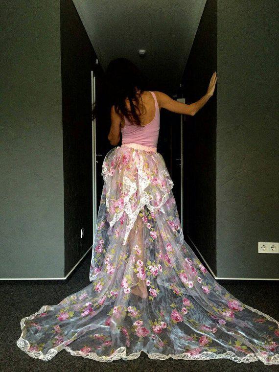 Floral organza wedding skirt floral overskirt by LuxuriaFata