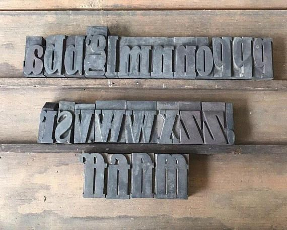 Vintage Wood Letterpress Printer Type Blocks Lowercase Font 2