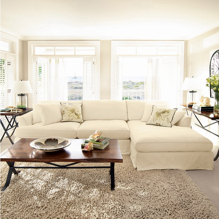 Emory 134 two piece slipcovered sectional in deso snow for Living room necessities