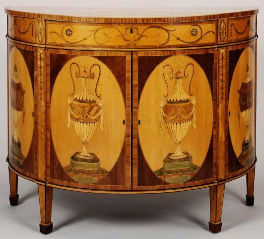 William Gates (active 1774-c. 1800) - Commode, 1781 - Oak, pine, satinwood, tulipwood, purplewood, sycamore, amboyna and other woods | Dim: 89.5 x 114.3 x 53.3 cm.