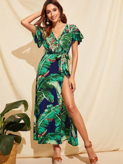d1398249f8 Product name: Jungle Flutter Sleeve Split Thigh Belted Maxi Dress at SHEIN,  Category: Dresses