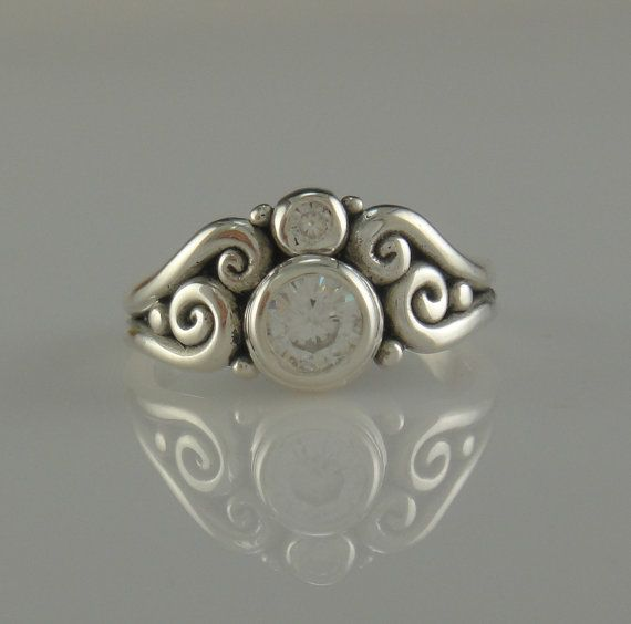 Sterling Silver Moissanite RIng One of a by DenimAndDiaJewelry, $480.00