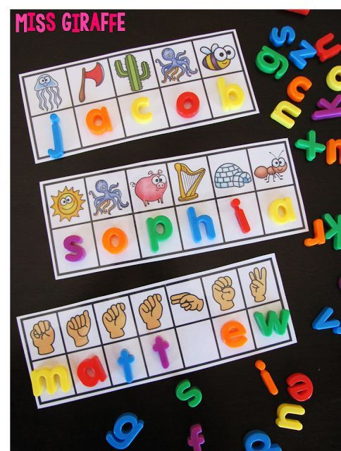 Personalized name activities where you send her your class list and she sends you Secret Name cards for your students! Both beginning sounds and sign language!!