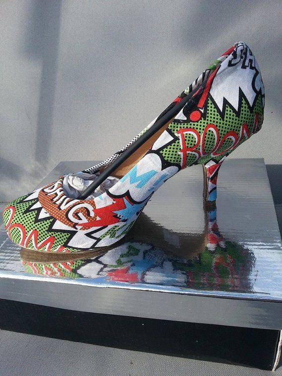 zap marvel comic fabric decoupage shoes