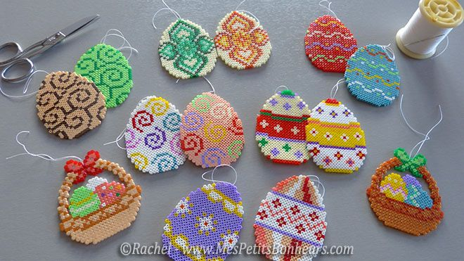 Easter ornaments hama mini beads by Rachel - Mes Petits Bonheurs
