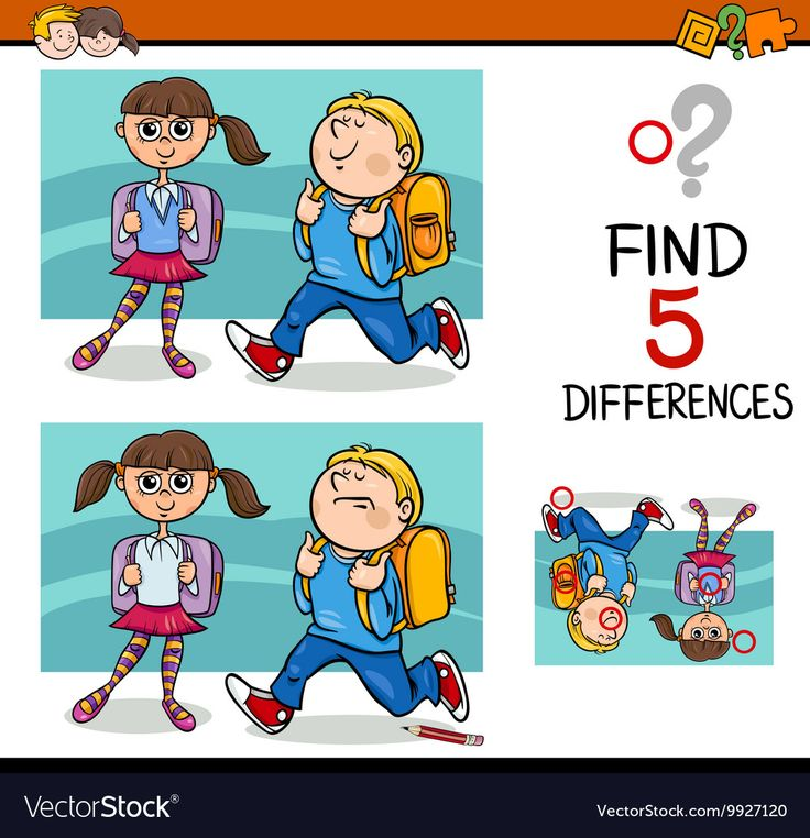 Cartoon Illustration of Finding Differences Educational