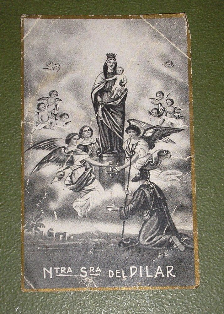 OUR LADY OF PILLAR VERY NICE AND OLD GREY HOLY CARD #HolyCards