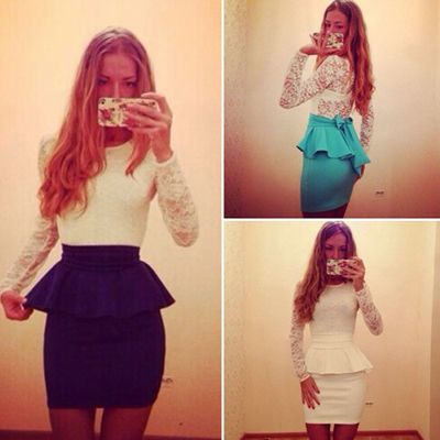 2015 new casual Womens Bodycon Bandage lace dress Long Sleeve autumn Slim sexy Party Clubwear mini workwear Dress peplum dress