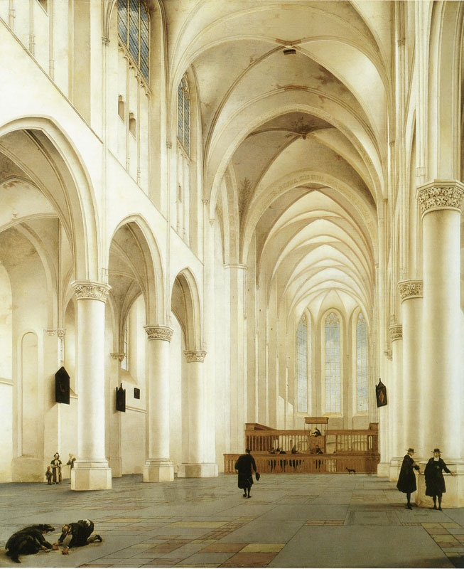 Pieter Saenredam, Interieur van de Grote of St. Bavokerk te Haarlem vanuit het schip naar oosten, ca. 1630.