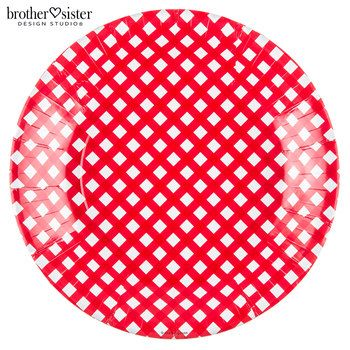 Red Gingham Plates - Large
