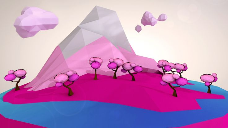 Low Poly Pink Isle on Behance