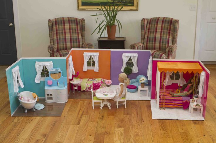 Check this out! This is so cool. All the rooms are 24'' by 24'' by 24'' witch makes them big enough to fit most american girl doll furniture