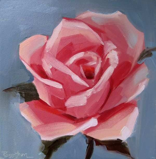 Step By Step Painting Flowers On Canvas Beautiful Simple Rose Painting Art Artists Pinterest Acrylic Painting Flowers Rose Painting Flower Drawing