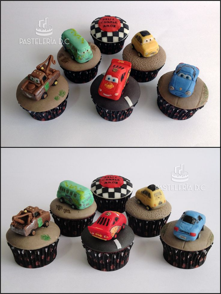 Cupcakes de cars. Cubierta y toppers en chocolate para modelar / Cars cupcakes covered with modeling chocolate. Toppers in mc too. Rayo (Lightning) McQueen, Tow Mater, Sally Carrera, Fillmore y Luigi.