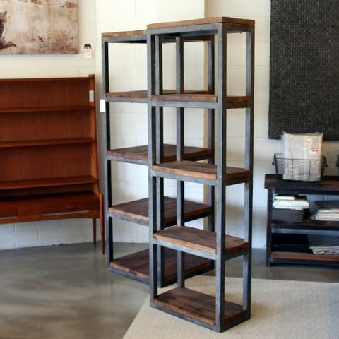 Vintage metal and wood bookcases